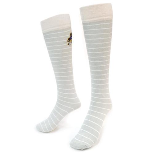 Grey & White Stripe Jolly Roger Knee High Socks