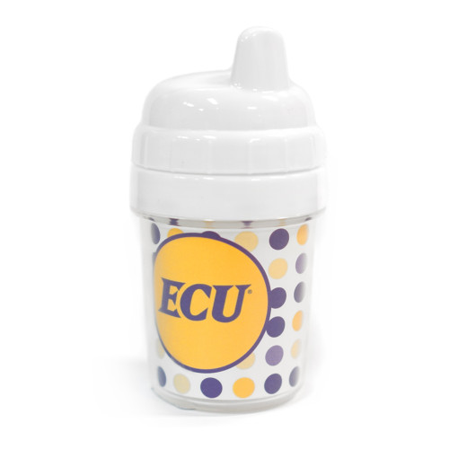 Purple & Gold Polka Dot ECU Small Sippie Cup
