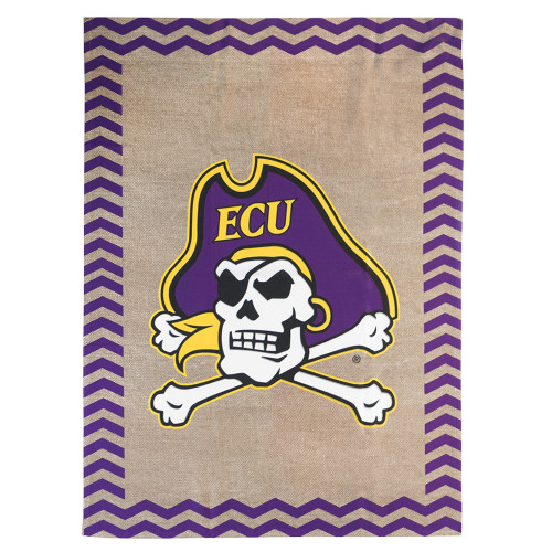 Burlap Chevron Jolly Roger House Flag