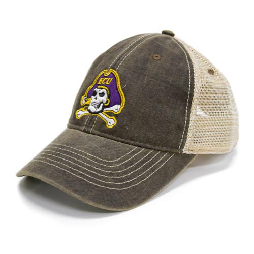 Vintage Black Jolly Roger Trucker Cap