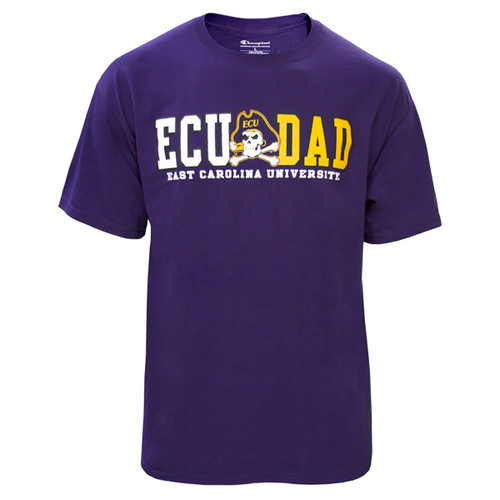 Purple ECU Dad Tee with Jolly Roger
