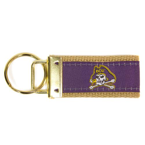 Purple Mini Jolly Roger Wristlet Keychain