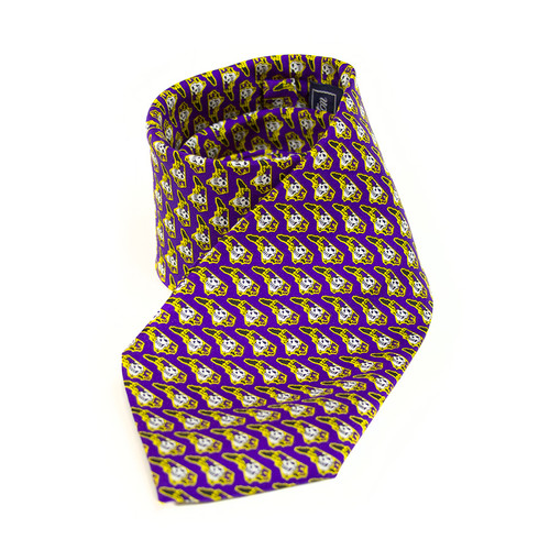 Purple Necktie with Repeating Pirate State Of Mind Pattern