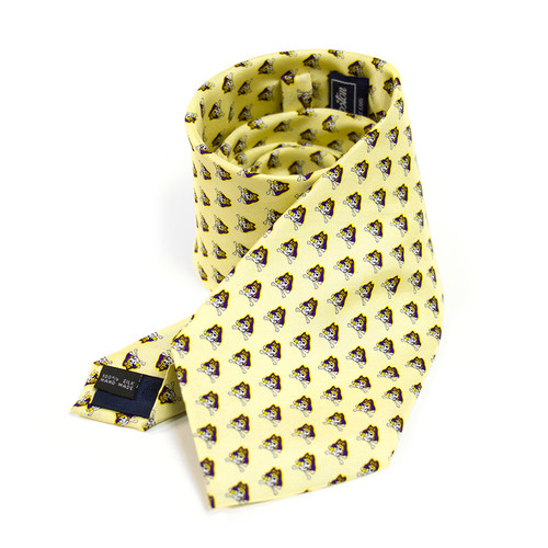 Canary Yellow Repeating Jolly Roger Necktie