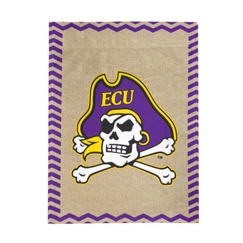 Burlap Chevron Jolly Roger Garden Flag