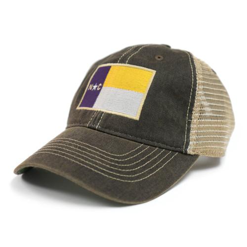Vintage Black Purple & Gold NC Flag Trucker Cap