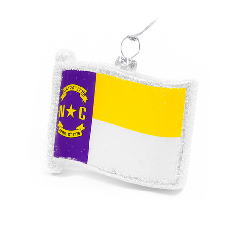 Glitter NC Purple & Gold Flag Ornament
