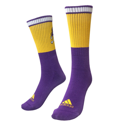 Purple Jolly Roger Socks with Gold & White Ankle Bars