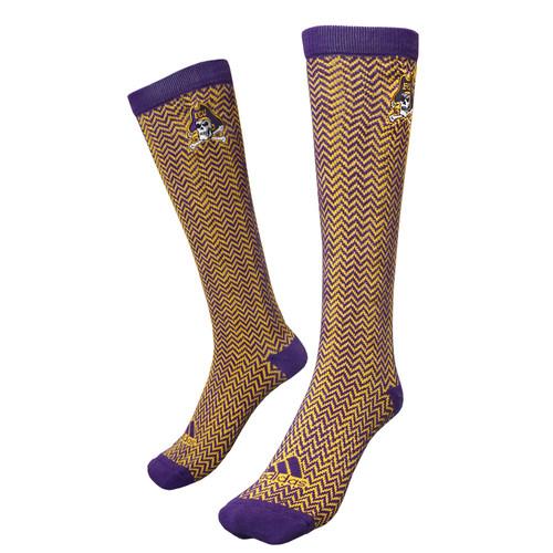 Purple & Gold Knee High Chevron Socks