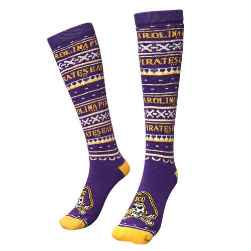 Purple Christmas Party Jolly Roger Knee High Socks