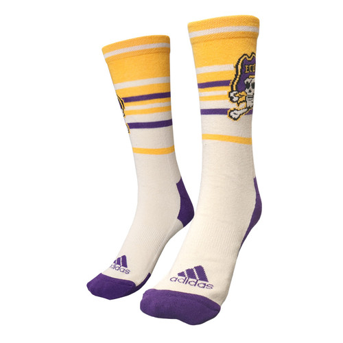 Raw Cotton Jolly Roger Socks with Purple & Gold Bars