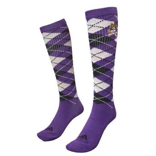 Ribbed Argyle Purple Knee High Socks