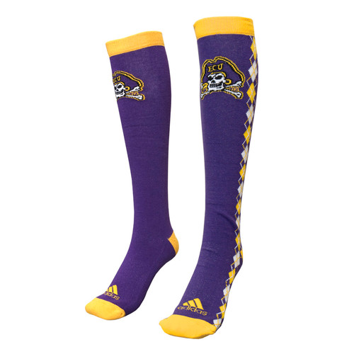 Purple & Gold Argyle Sided Knee High Socks
