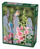 Bluebirds and Hollyhocks - 1000pc Jigsaw Puzzle by Cobble Hill
