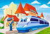 At the Railway Station - 40pc Jigsaw Puzzle By Castorland (discon-24075)