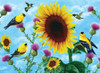 Sunflowers and Songbirds - 500+pc Large Format Jigsaw Puzzle by SunsOut