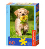 Puppy with Rose - 60pc Jigsaw Puzzle By Castorland