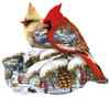 Winter Cardinals - 800pc Shaped Jigsaw Puzzle by Sunsout