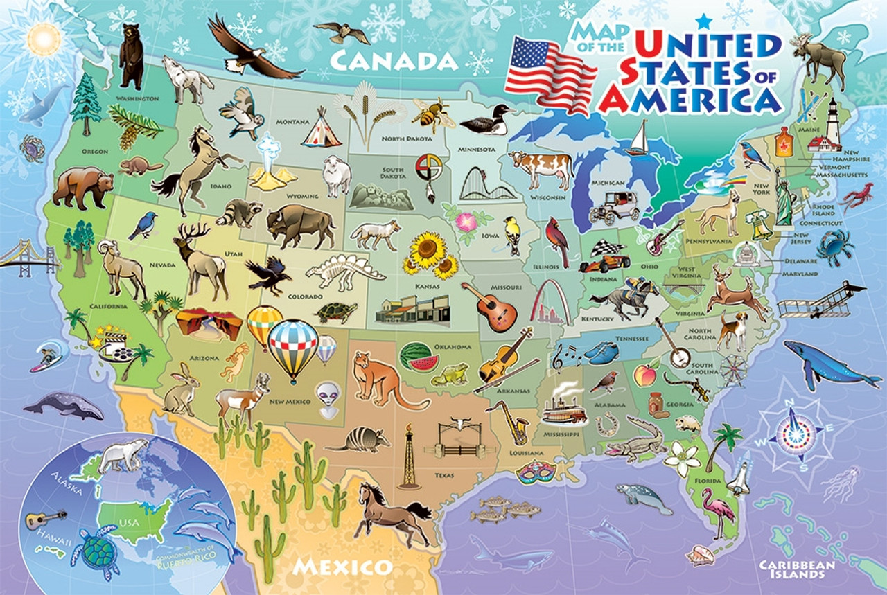 Map Of America Jigsaw.Map Of The Usa 48pc Floor Jigsaw Puzzle By Cobble Hill