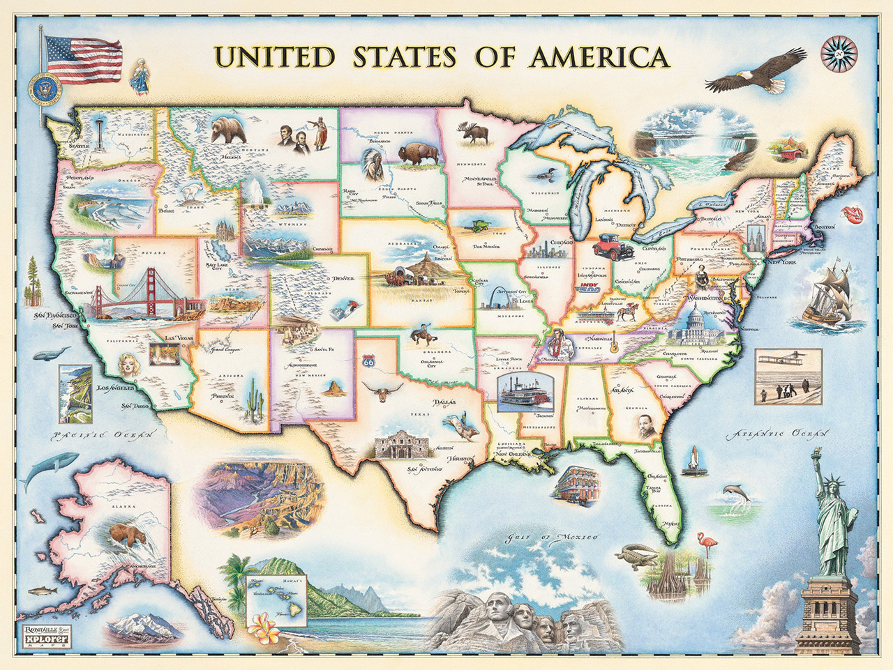 Map Of America Jigsaw.Xplorer Maps Usa Map 1000pc Jigsaw Puzzle By Masterpieces