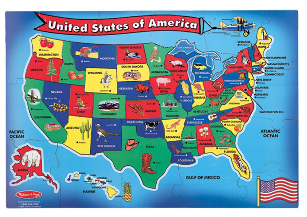 U.S.A. Map - 51pc Floor Puzzle By Melissa & Doug (discon) on usa puzzle, usa region, usa buildings, usa ma, usa globe, usa national parks, usa climate, usa outline, usa rivers, usa weather, usa mountain ranges, usa landmarks, usa mao, usa food, usa geography, usa 13 colonies, usa capitals, usa with states and cities, usa and canada, usa major cities,