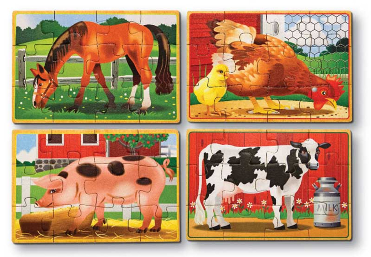 Farm Animals - 4 x 12pc Wooden Jigsaw Puzzles in a Box By Melissa and Doug  (discon) - SeriousPuzzles.com