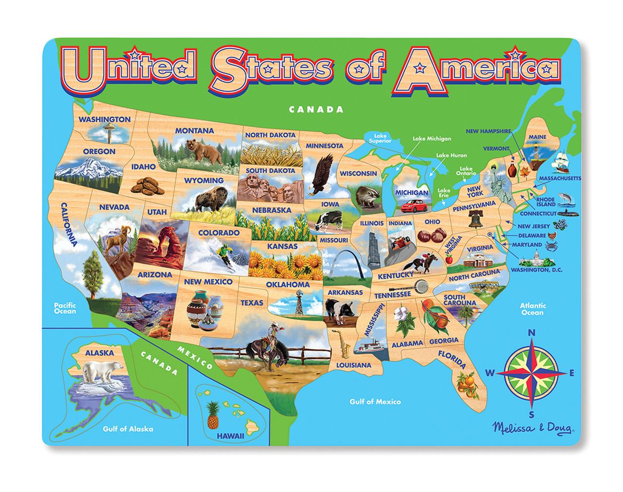 Usa Map 45pc Contour Frame Puzzle By Melissa Doug Discon