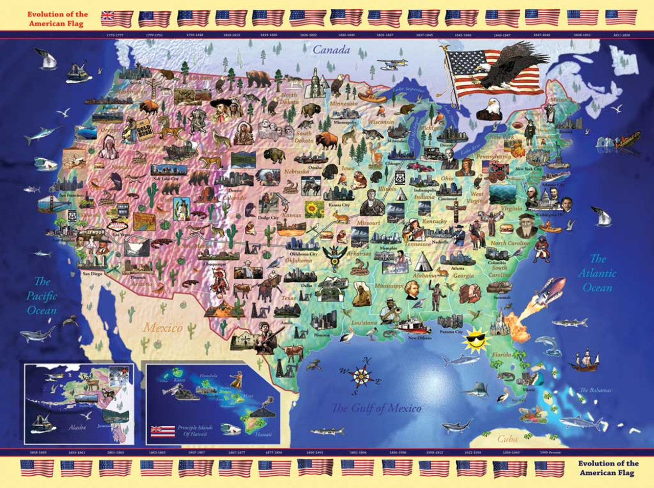 USA Map - 300pc Jigsaw Puzzle by Ravensburger (discon)