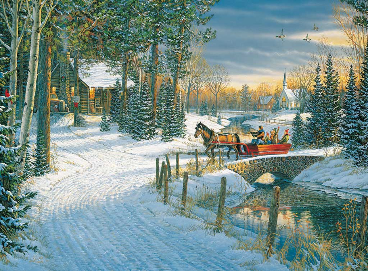 Holiday Sleigh Ride 1000pc Jigsaw Puzzle By White Mountain Discon