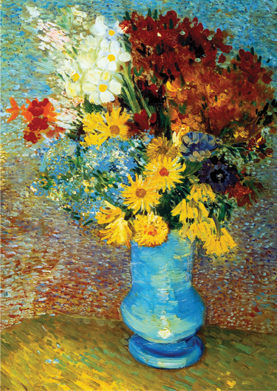 Serious Puzzles & Flowers in Blue Vase: Van Gogh - 1000pc Jigsaw Puzzle by D-Toys
