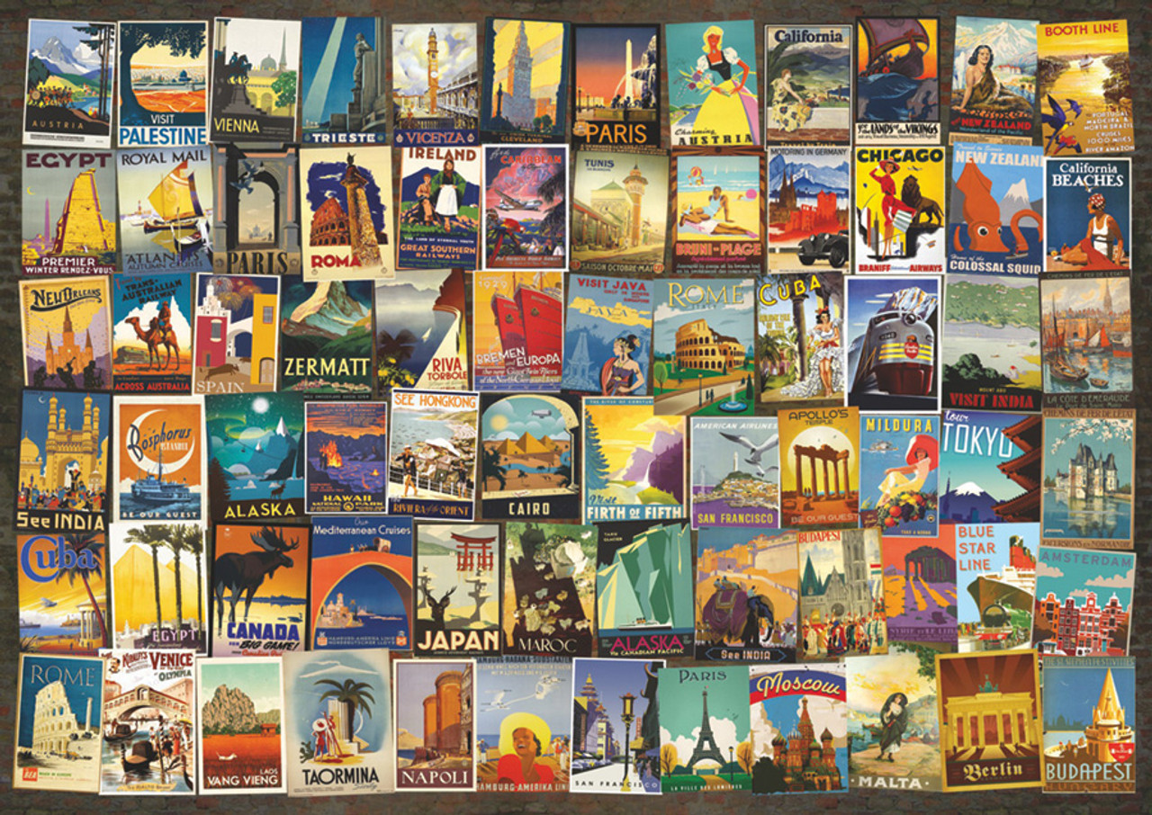 Travel Poster Collage 1000pc Jigsaw Puzzle By D Toys Seriouspuzzles Com