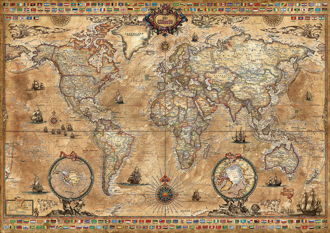 Antique World Map   1000pc Jigsaw Puzzle By Educa   SeriousPuzzles.com