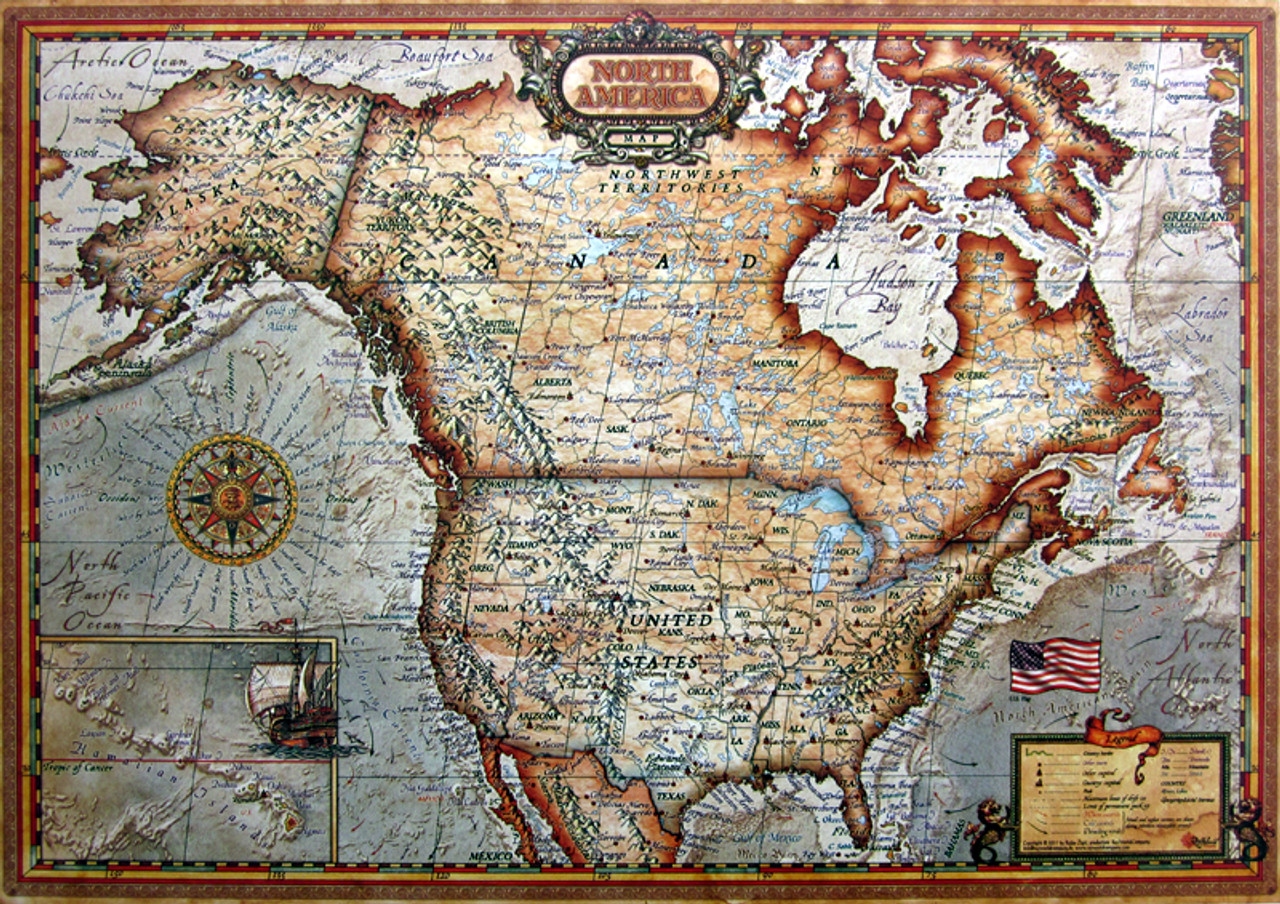 Map Of America Jigsaw.North America Map 1000pc Jigsaw Puzzle By Educa