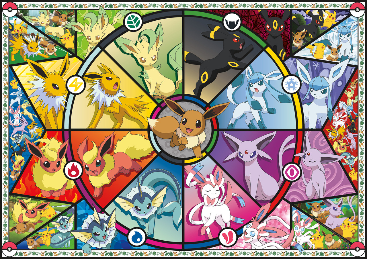 Pokemon Eevee Evolutions Stained Glass 2000pc Jigsaw Puzzle By Buffalo Games Seriouspuzzles Com
