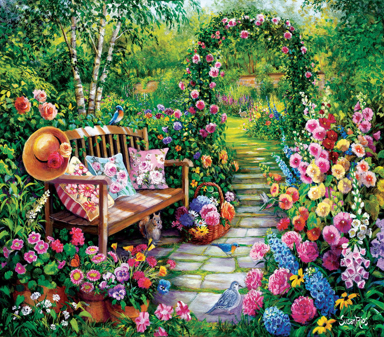 1000 Pieces Flowers And Birds Jigsaw Puzzle Tactic From the Garden