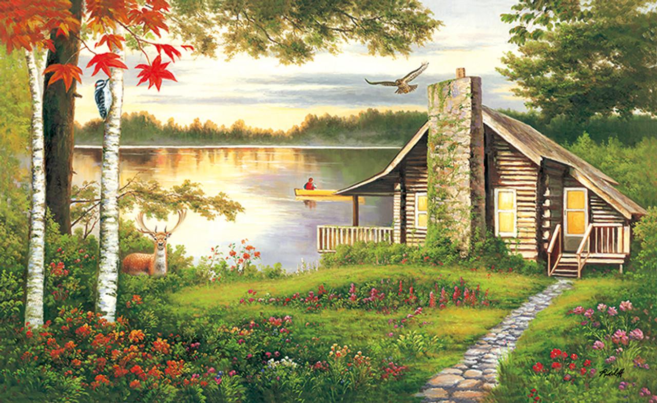 a5e97d6a9bb7 Misty Lake Cottage - 1000pc Jigsaw Puzzle by Lafayette Puzzle Factory -  SeriousPuzzles.com