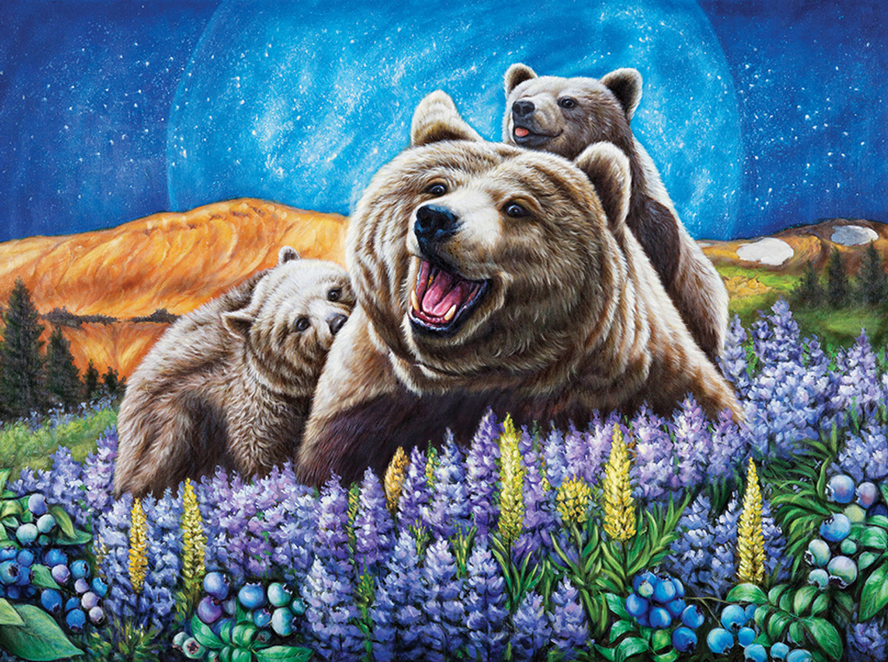 Blueberry Bears - 1000pc Jigsaw Puzzle by Lafayette Puzzle Factory