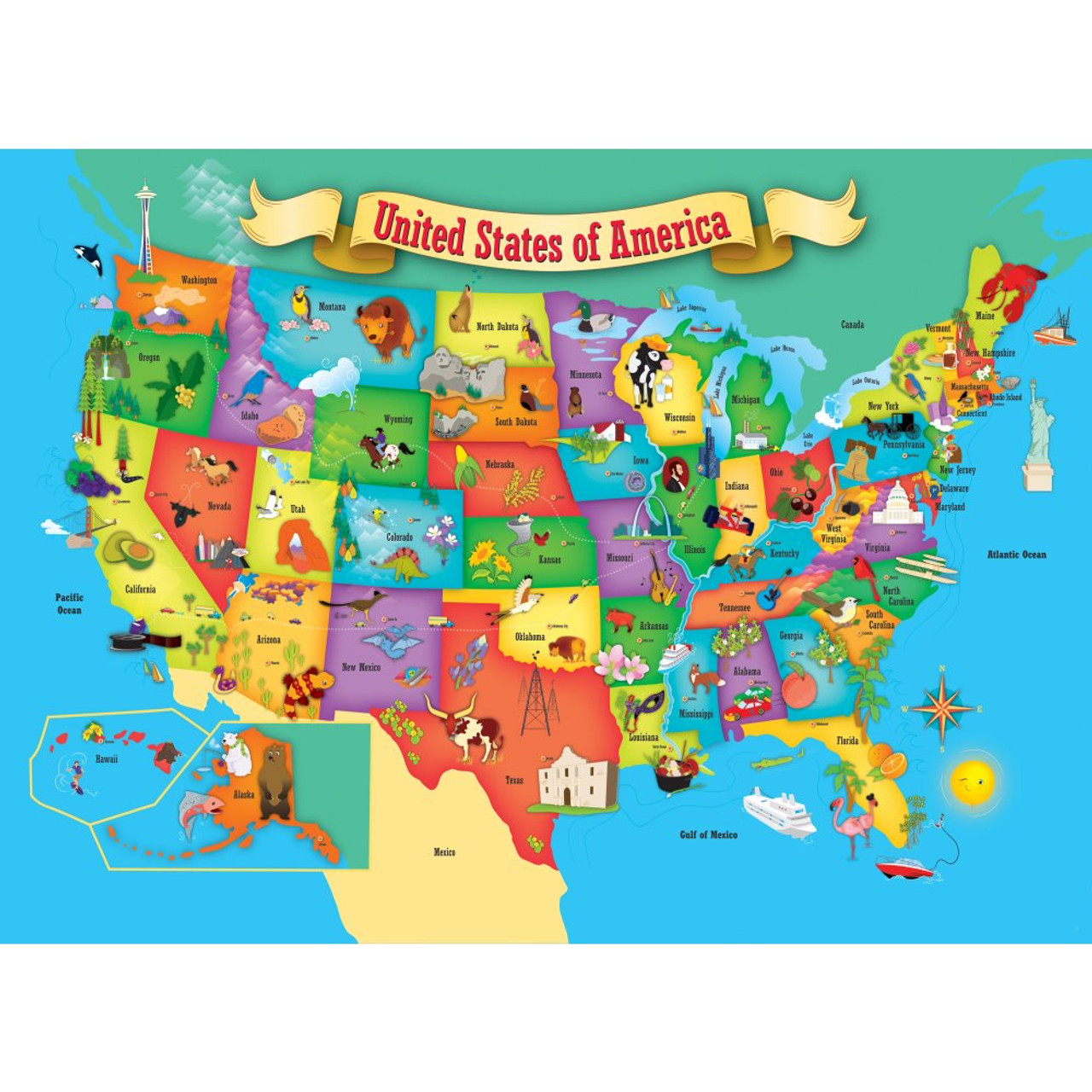Map Of Canada Puzzle.Usa Map 60pc Jigsaw Puzzle By Masterpieces