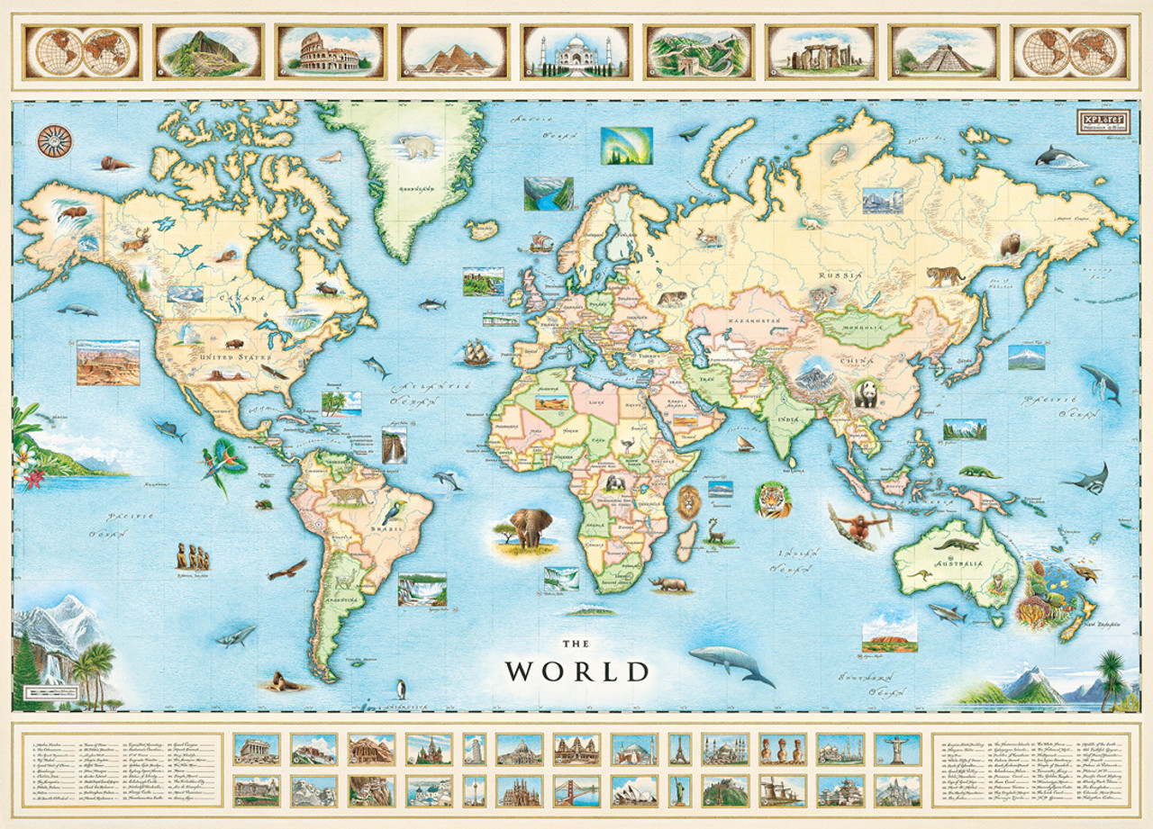 Xplorer World Map 1000pc Jigsaw Puzzle By Masterpieces