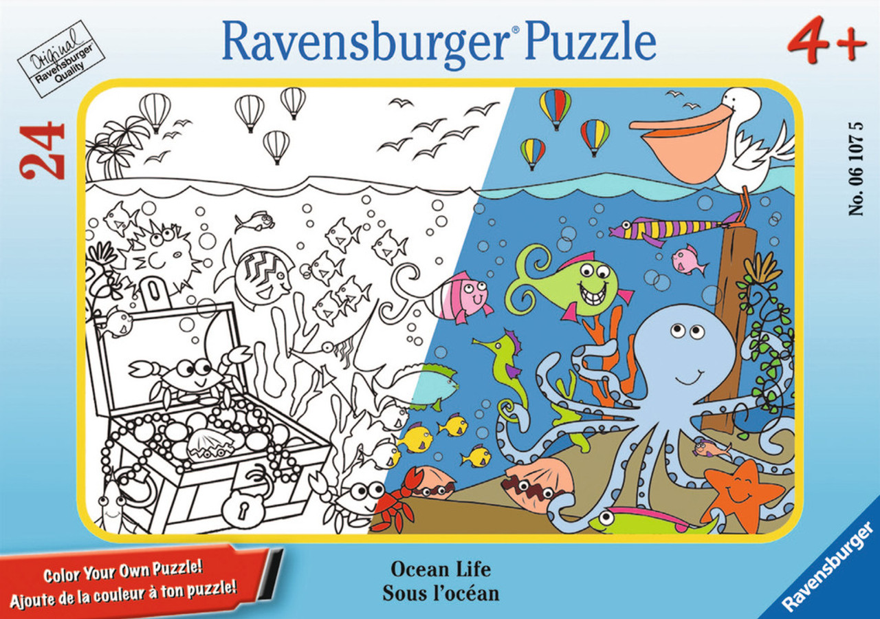 Ocean Life 24pc Color Your Own Mini Frame Puzzle By Ravensburger