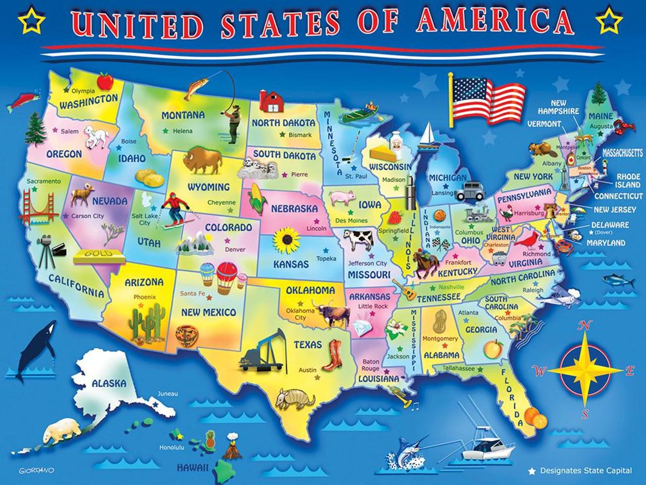 Springbok USA Map Jigsaw Puzzle | SeriousPuzzles.com