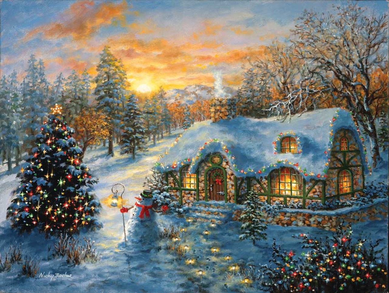 Christmas Jigsaw Puzzles.Christmas Cottage 500pc Jigsaw Puzzle By Sunsout