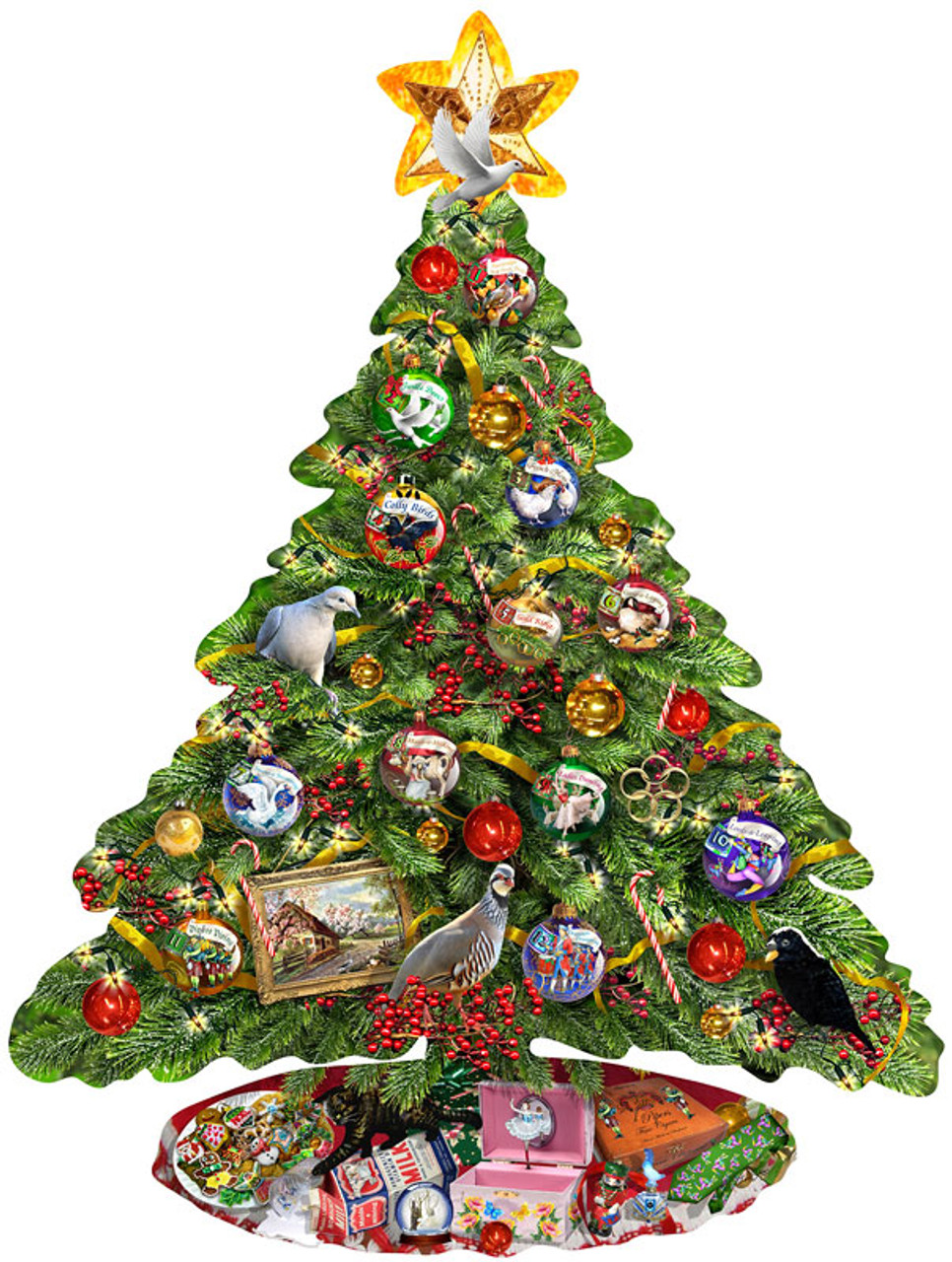 The 12 Days Of Christmas.The Twelve Days Of Christmas X Two 1000pc Shaped Jigsaw Puzzle By Sunsout
