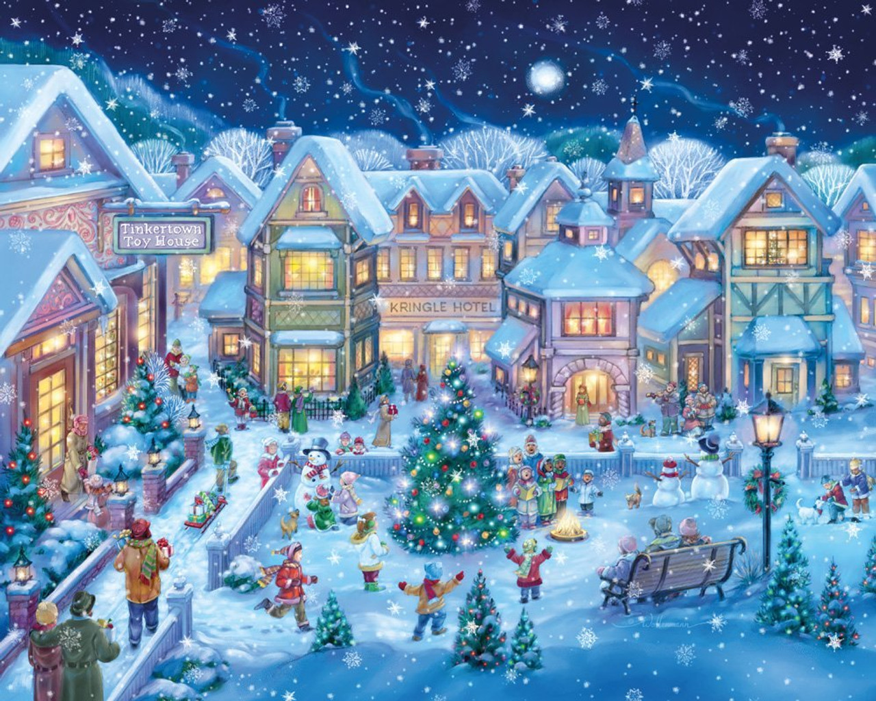 Christmas In Vermont.Holiday Village Square 1000pc Jigsaw Puzzle By Vermont Christmas Company