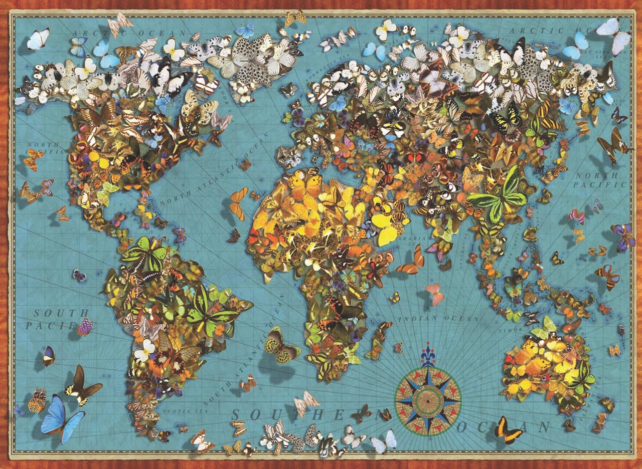 Butterfly World Map 1000pc Jigsaw Puzzle By Anatolian