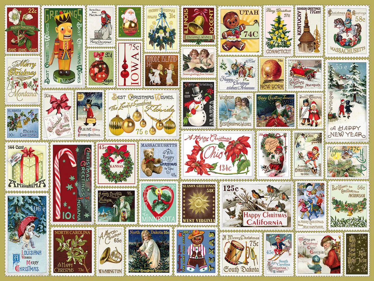 43ca0e75ed55 State Holiday Stamps - 300pc EZ Grip Jigsaw Puzzle By White Mountain -  SeriousPuzzles.com