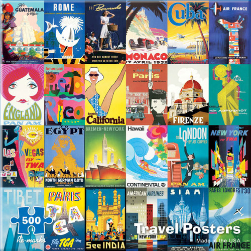 Travel Posters - 500pc Jigsaw Puzzle By Re-marks