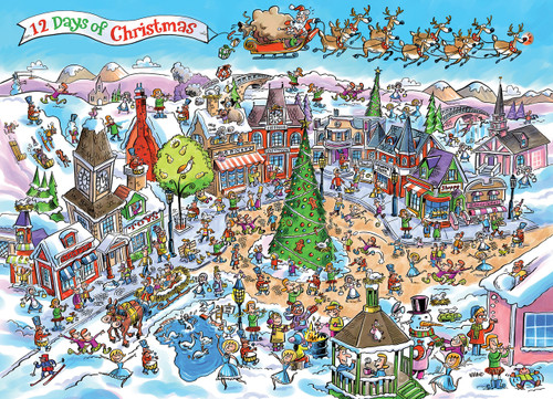 DoodleTown: 12 Days of Christmas - 1000pc Jigsaw Puzzle by Cobble Hill