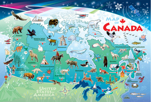 Map of Canada - 48pc Floor Jigsaw Puzzle By Cobble Hill