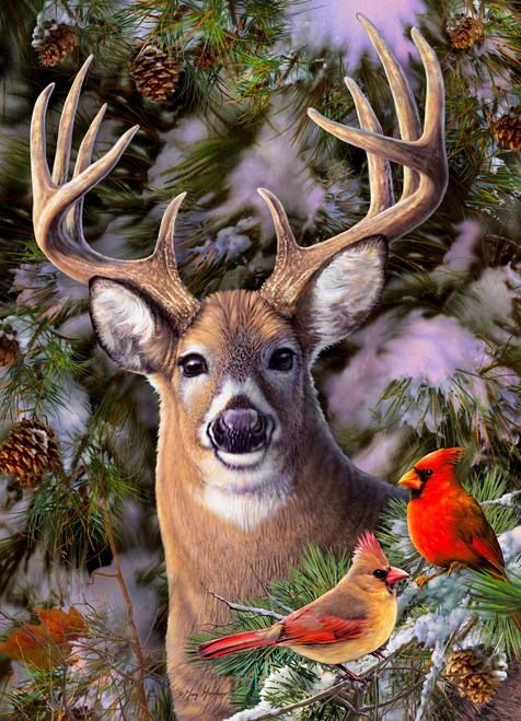 One Deer Two Cardinals - 500pc Jigsaw Puzzle By Cobble Hill